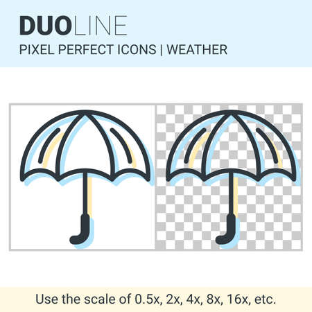 duo: Pixel perfect duo line umbrella icon on white and transparent background for responsive web or product design. Can be used in weather forecast apps or widgets