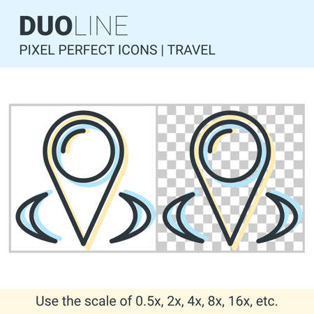 Pixel perfect duo line map pointer icon on white and transparent background for responsive web or product design. Can be used in web sites and apps for travel, maps and navigation Illustration