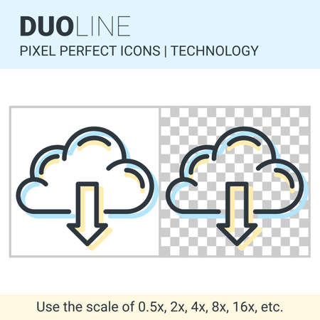 duo: Pixel perfect duo line cloud download icon on white and transparent background for responsive web or product design. Designed for use by technology companies and startups in their products