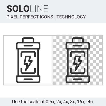 rechargeable: Pixel perfect solo line battery icon on white and transparent background for responsive web or product design. Designed for use by technology companies and startups in their products