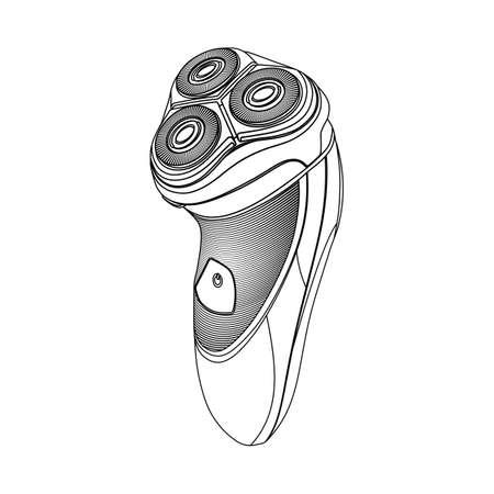 Rasoir électrique sur un fond blanc. Version esquisse du rasoir électrique. Illustration vectorielle EPS10