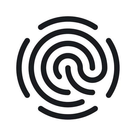 単純な指紋アイコンが白い背景に分離されました。簡単編集可能なベクトル図