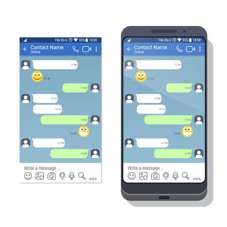 Un teléfono inteligente con plantilla de red social o aplicación de mensajería para dispositivos móviles en la pantalla. Chat o sms concepto de interfaz de la aplicación. Ilustración vectorial Ilustración de vector