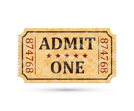 Admit one ticket. Vintage admission ticket isolated on white background. Vector illustaration