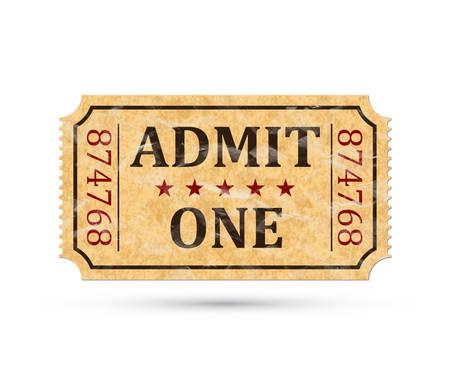 Admit one ticket. Vintage admission ticket isolated on white background. Vector illustaration