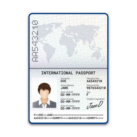 Modèle de passeport féminin international avec échantillon de photo, signature et autres données personnelles. Vecteurs