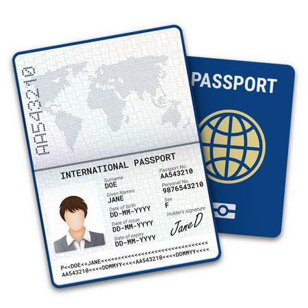Plantilla de pasaporte internacional con identificación de datos biométricos y muestra de foto, firma y otros datos personales. Ilustración vectorial