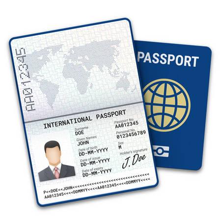 Plantilla de pasaporte masculino internacional con identificación de datos biométricos y muestra de foto, firma y otros datos personales. Ilustración vectorial
