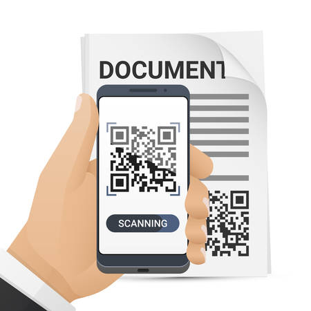 Smartphone in mans hand scanning QR code from document. Barcode scanner application on smart phone screen. Vector illustration