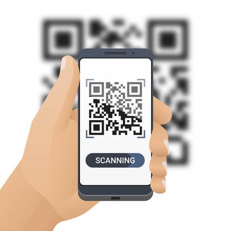 Lo smartphone in mano da uomo scansiona il codice QR. Applicazione dello scanner di codici a barre sullo schermo dello smartphone e codice QR sfocato dietro. Illustrazione vettoriale Archivio Fotografico - 96847975