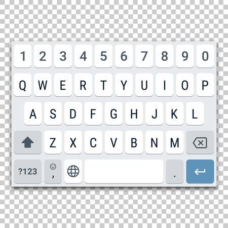 Plantilla de teclado virtual para teléfono inteligente con diseño QWERTY, letras mayúsculas y fila de números. Ilustración de vector de maqueta de teclado para tableta u otro dispositivo móvil