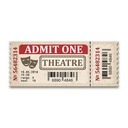 Theater ticket in retro style. Admission ticket isolated on white background. Vector illustaration