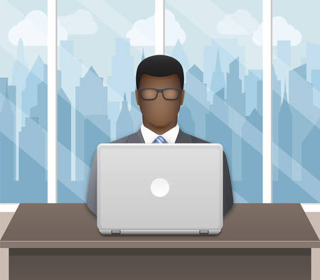 Black businessman working on laptop in an office on a cityscape background. Vector illustration Illustration