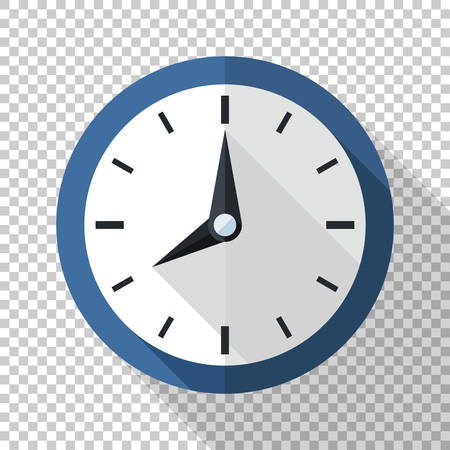Wall clock icon in flat style with long shadow on transparent background  イラスト・ベクター素材