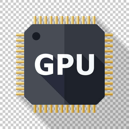 GPU icon in flat style with long shadow on transparent background
