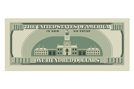 One hundred dollar bill. 100 dollars banknote, reverse side. Vector illustration isolated on white background