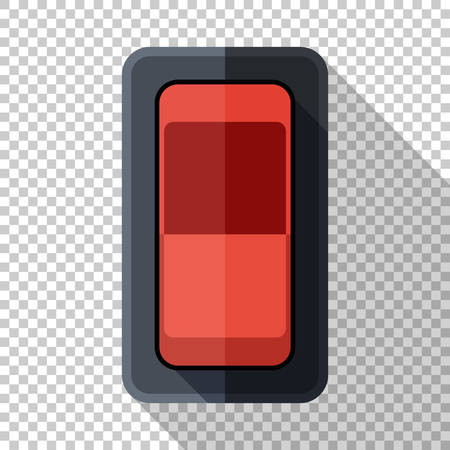 Power switch icon in flat style with long shadow on transparent background