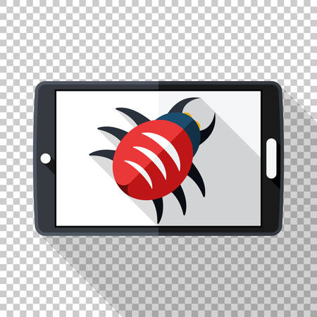 Tablet icon in flat style infected by malware with long shadow on transparent background