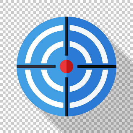 Target icon in flat style with a long shadow on transparent background