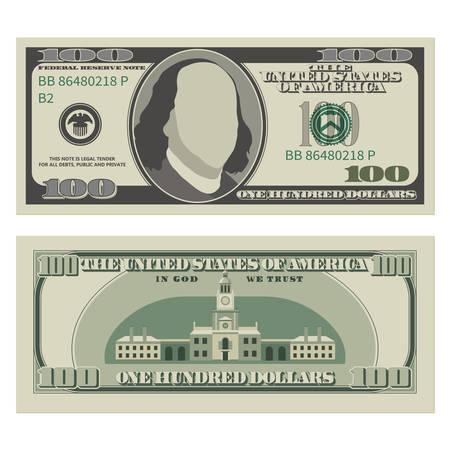Stu dolarowy banknot. Banknot 100 dolarów, strona przednia i rewers. Ilustracja wektorowa na białym tle Ilustracje wektorowe