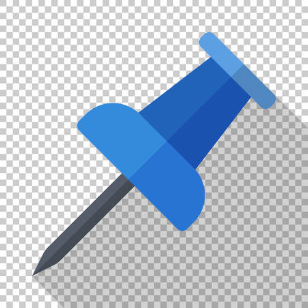Push pin icon in flat style with long shadow on transparent background 向量圖像