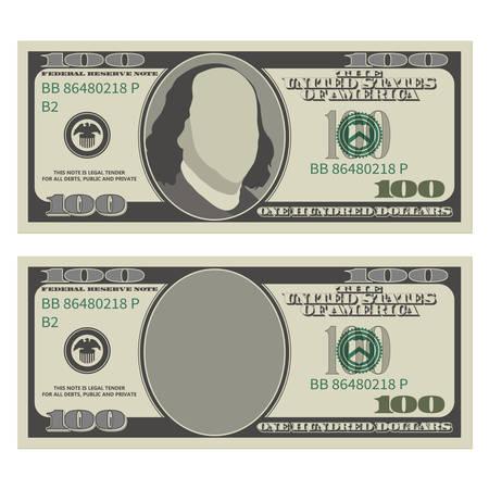 Modello di disegno di banconota da cento dollari. Banconota da 100 dollari, fronte con e senza presidente Franklin. Illustrazione vettoriale isolato su sfondo bianco Vettoriali