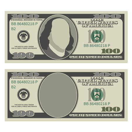 Plantilla de diseño de billete de cien dólares. Billete de 100 dólares, anverso con y sin presidente Franklin. Ilustración de vector aislado sobre fondo blanco. Ilustración de vector