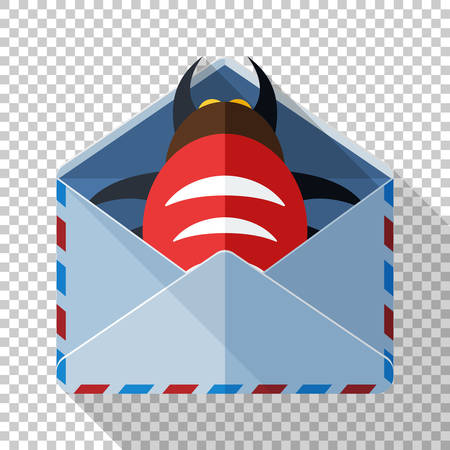Envelope icon with bug inside in flat style with long shadow on transparent background. Concept of an email with a malicious attachment