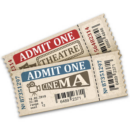 Theater and cinema  tickets in retro style. Two admission tickets isolated on white background. Vector illustaration