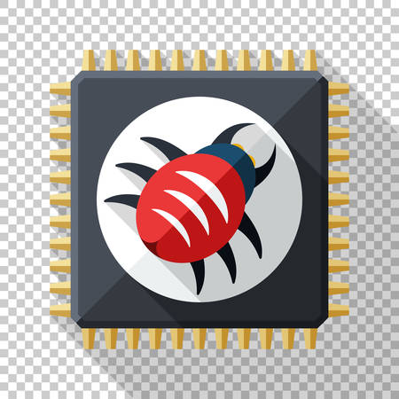Hardware vulnerability icon in flat style with long shadow on transparent background