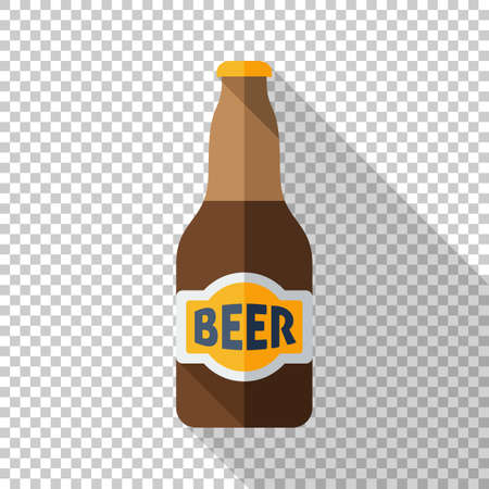 Beer bottle icon in a flat style with a long shadow on a transparent background