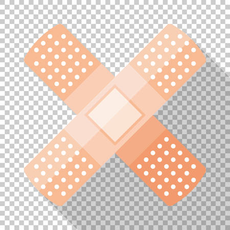 Adhesive plaster or sticking-plaster icon in flat style with long shadow on transparent background Standard-Bild - 115348076