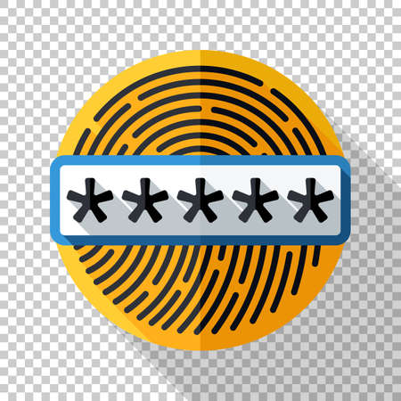 Fingerprint icon with password field in flat style and long shadow on transparent background