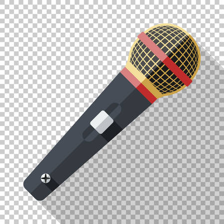 Classic microphone icon in flat style with long shadow on transparent background