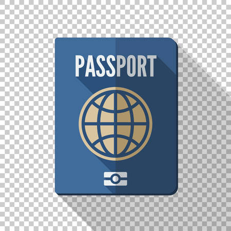 Passport icon in flat style with long shadow on transparent background Illustration