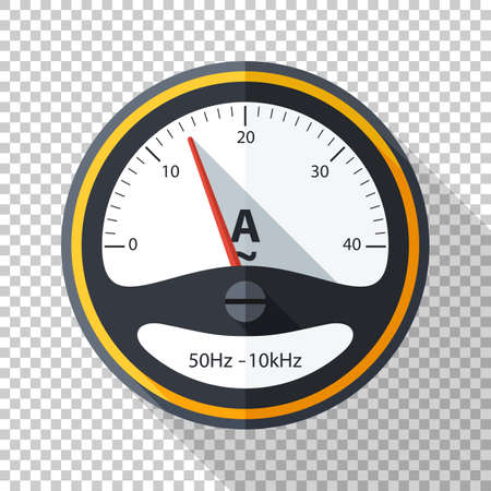 Ammeter icon in flat style with long shadow on transparent background