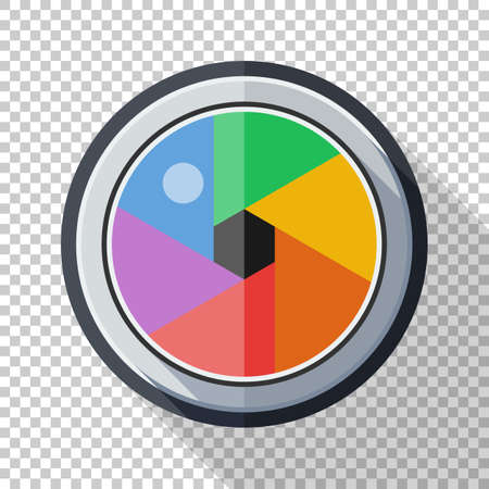 Camera lens icon in flat style with long shadow on transparent background