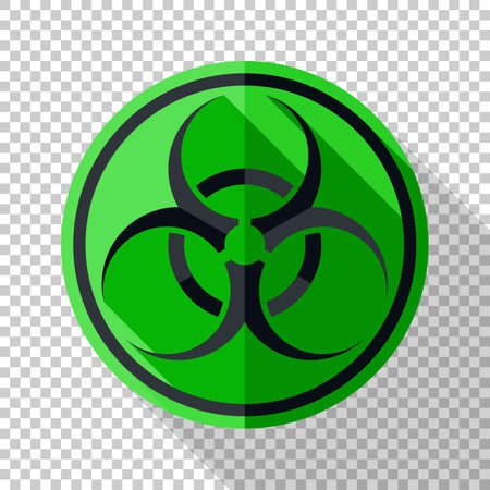 Biohazard icon in flat style with long shadow on transparent background