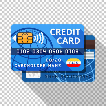 Credit card icon from both sides in flat style with long shadow on transparent background Ilustracja