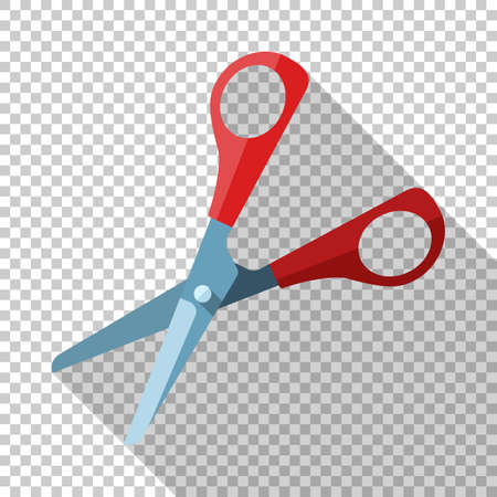 Open scissors icon in flat style with long shadow on transparent background