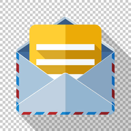 Envelope icon with a letter in flat style and long shadow on transparent background Ilustracja