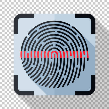 Fingerprint scanning icon in flat style with long shadow on transparent background