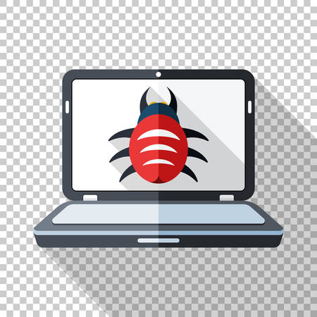 Laptop icon in flat style infected by malware with long shadow on transparent background 向量圖像