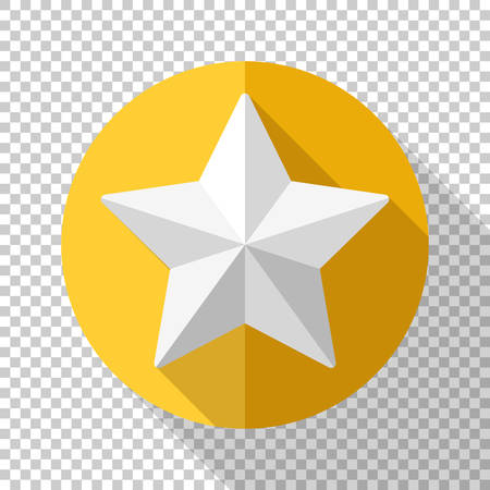 Golden star icon in flat style with long shadow on transparent background