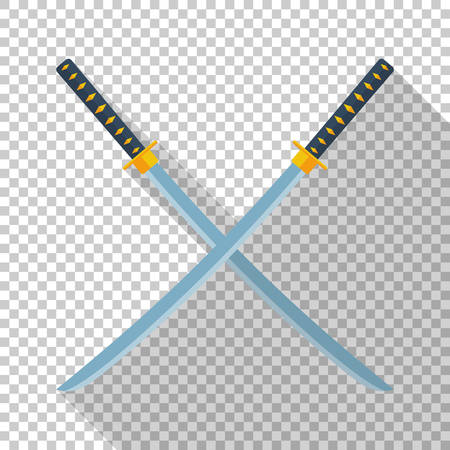 Katana swords icon in flat style with long shadow on transparent background