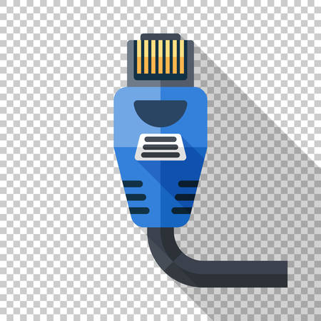 Internet connector icon in flat style with long shadow on transparent background