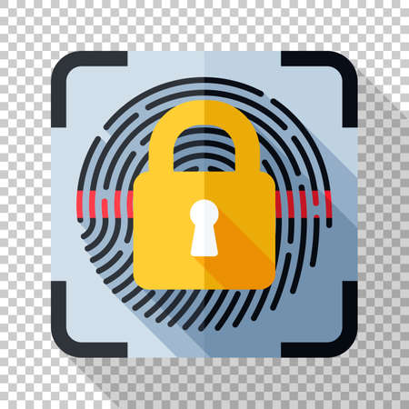 Fingerprint scanner locked icon in flat style with long shadow on transparent background Ilustracja
