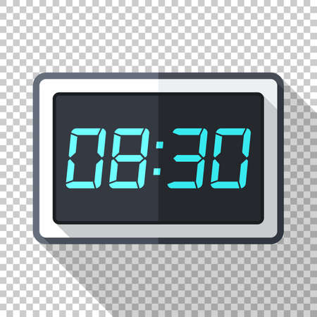 Digital clock icon in flat style with long shadow on transparent background