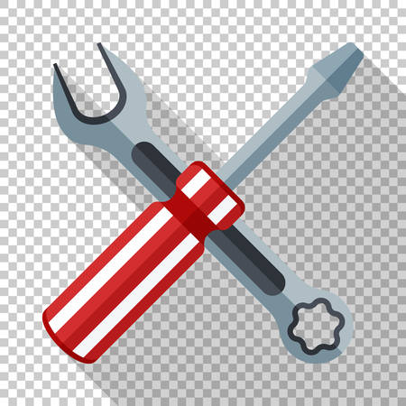 Icon of a screwdriver and wrench in flat style with long shadow on transparent background
