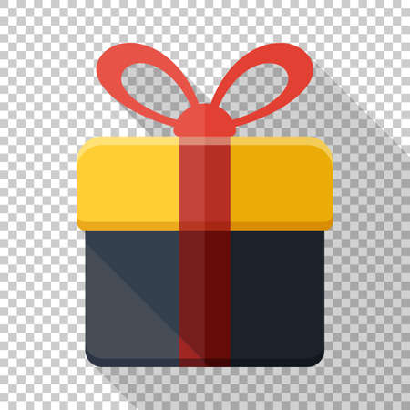 Gift box icon in flat style with red ribbon and long shadow on transparent background Ilustracja